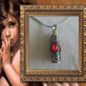 Jewelry - Red jewell cremation  urn pendant